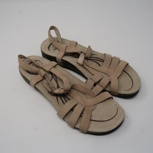 Womens Abeo Tan Leather Ankle Strap Sandals 11